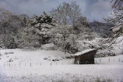 Tettoia di legno sola nella neve fotografia stock