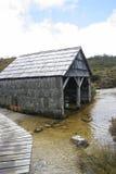 Tettoia storica della barca, montagna della culla, Tasmania Immagine Stock