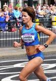 Tetyana Gamera-Shmyrko, Ukraine. London, UK - August 05, 2012: Tetyana Gamera-Shmyrko representing Ukraine runs the Women's Olympic Marathon at London 2012 and Royalty Free Stock Photo