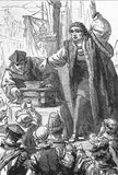 Tetzel som säljer indulgenses stock illustrationer