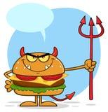 Teufel-Burger-Zeichentrickfilm-Figur, die Trident hält Lizenzfreie Stockfotos