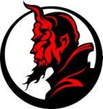 Teufel-Dämon-Maskottchen-Kopf-Abbildung stock abbildung