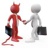 Teufel, der ein Abkommen mit einem Geschäftsmann schließt stock abbildung