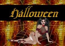 Teufel-Frauen-Halloween-Hintergrund Lizenzfreie Stockfotografie