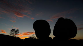 Teufel-Marmor-Sonnenuntergang Stockfoto