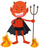 Teufel mit den Hörnern, die Dreizack halten Lizenzfreie Stockbilder