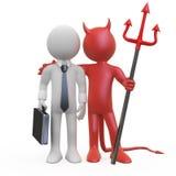 Teufel mit einem Geschäftsmann, der ein Abkommen hat lizenzfreie abbildung