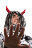 Teufel mit roten Hupen Lizenzfreies Stockbild