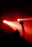 Teufel-Zeichen und Scheinwerfer Stockbild