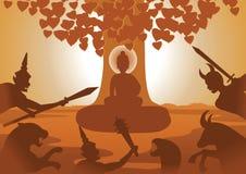Teufelkampf zu Lord von Buddha zu stoppen, um dieses Th nachher zu erleuchten lizenzfreie abbildung