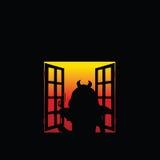 Teufelmädchen an der Fensterillustration Lizenzfreies Stockfoto