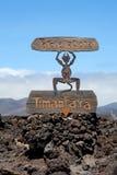 Teufelzeichen durch Nationalpark Eingang Timanfaya in Lanzarote Lizenzfreie Stockfotos