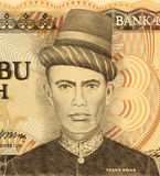 Teuku Umar. On 5000 Rupiah 1986 Banknote from Indonesia. National hero of Indonesia for his action against Dutch occupation Royalty Free Stock Image