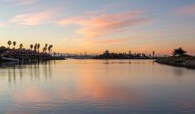 Teure Häuser und Boote Ventura Stockfoto