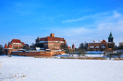Teutonic Castle in Malbork winter. Stock Image