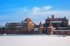 Teutonic Castle in Malbork winter. Stock Photos