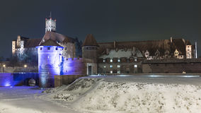 Teutonic Knights in Malbork castle at night Stock Photos