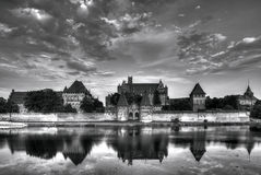 Teutonic Ridders in Malbork-kasteel in de zomer Royalty-vrije Stock Foto's