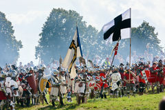 Teutonic troops at Grunwald. Teutonic Knights, armored troops - 601th anniversary of Battle of Grunwald 1410. 4000 reenactors, 1200 knights, near 20 thousands of royalty free stock photo