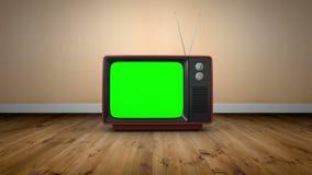 Tevê antiquado com tela verde ilustração royalty free