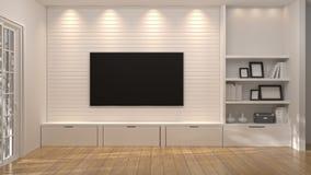Tevê com o armário branco na mobília da ilustração da sala 3d, nos projetos home modernos, nas prateleiras do fundo e nos livros  ilustração stock