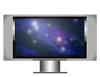 Tevê da tela do plasma com nebulosa Imagens de Stock Royalty Free