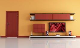 Tevê do Lcd e sistema audio em uma sala de estar moderna Fotos de Stock Royalty Free
