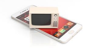 Tevê do vintage e um smartphone no fundo branco ilustração 3D ilustração do vetor
