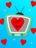Tevê e corações Foto de Stock Royalty Free