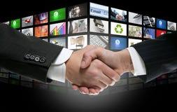 Tevê futurista da era digital e fundo das canaletas imagens de stock royalty free