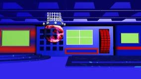 Tevê 4k do estúdio da notícia com vermelho azul do fundo abstrato e da esfera transparente ilustração royalty free