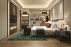 tevê moderna luxuosa da série de quarto da rendição 3d com vestuário e caminhada no armário imagem de stock