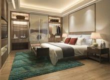 tevê moderna luxuosa da série de quarto da rendição 3d com vestuário e caminhada no armário imagens de stock
