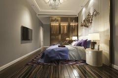 tevê moderna luxuosa da série de quarto da rendição 3d com vestuário e caminhada no armário foto de stock royalty free
