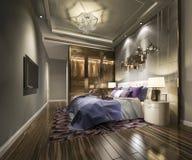 tevê moderna luxuosa da série de quarto da rendição 3d com vestuário e caminhada no armário imagens de stock royalty free
