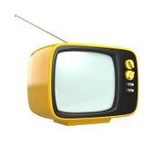Tevê retro amarela do estilo isolada no fundo branco Fotografia de Stock Royalty Free