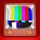 Tevê retro com as barras de cor no fundo vermelho fotografia de stock royalty free