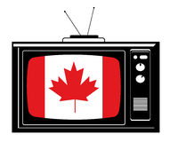 Tevê retro com bandeira de Canadá Imagem de Stock Royalty Free