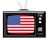 Tevê retro com a bandeira dos EUA Imagem de Stock