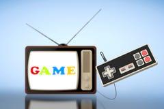 Tevê retro com o controlador abstrato do jogo Fotografia de Stock Royalty Free