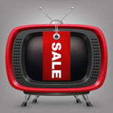 Tevê retro do vermelho com venda labal Imagens de Stock