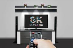 Tevê ultra HD tecnologia da definição da televisão 8K Fotografia de Stock Royalty Free