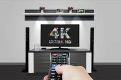 Tevê ultra HD tecnologia da definição da televisão 4K Fotografia de Stock Royalty Free