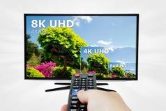 Tevê ultra HD televisão de 8K 4320p Foto de Stock