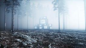 Tevê velha da antiguidade no medo e no horror da floresta da noite da névoa Conceito de Mistic rendição da transmissão 3d ilustração do vetor