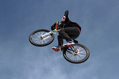 Teva Best Trick Bike. Trick bikes hit the big air jump at the base of Vail Mountain in Colorado during the first Winter Teva Mountain Games Stock Photos
