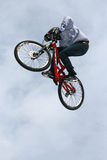 Teva Best Trick Bike. Trick bikes hit the big air jump at the base of Vail Mountain in Colorado during the first Winter Teva Mountain Games Stock Image