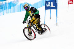 Teva Dual Slalom Bike. Preeminent mountain bikers combine precision with pure guts in this all-out speed descent on Vail Mountain's Golden Peak. This head-to Stock Photos