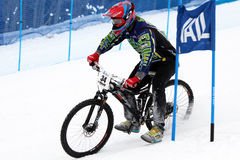 Teva Dual Slalom Bike. Preeminent mountain bikers combine precision with pure guts in this all-out speed descent on Vail Mountain's Golden Peak. This head-to Stock Image
