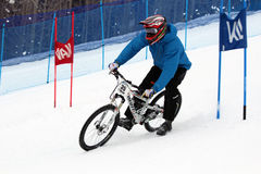 Teva Dual Slalom Bike. Preeminent mountain bikers combine precision with pure guts in this all-out speed descent on Vail Mountain's Golden Peak. This head-to Stock Images